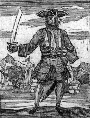 Blackbeard, as depicted in 'A General History of the Robberies and Murders of the most notorious Pyrates'