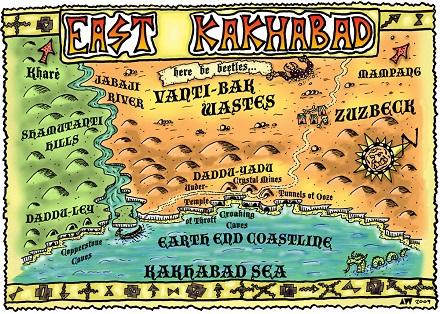 Map of Kakhabad showing Croaking Caves
